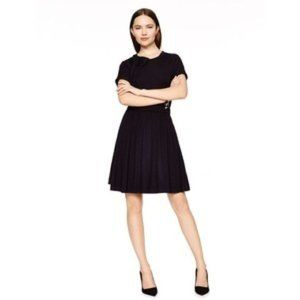 KATE SPADE Black Jersey Bow Collared Mini Dress